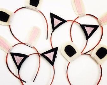 Panda, Kitty and Bunny Party Headband Pack, Photo Booth Props, Panda Ears, Cat Ears, Rabbit Ears