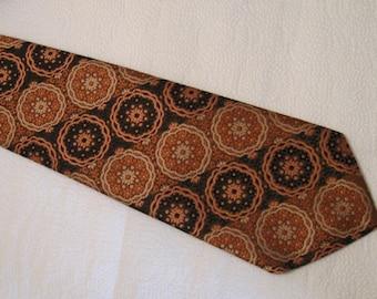 Vintage Men's Mr. John Beau Brummell Texturized Necktie - Gold and Brown Design