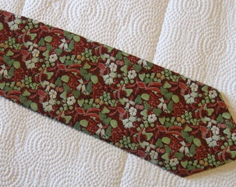 Vintage Wembley Texturized Polyester Necktie - Red and Multi Color Floral