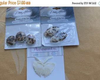 On sale Pretty Shell Bead, Pendant Lot, Crafts, Destash, Repurpose,