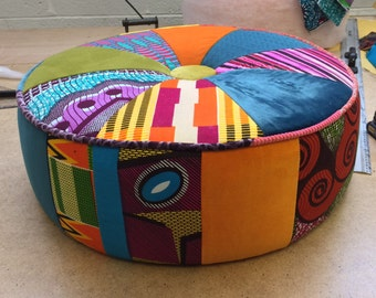 Afrotechnicolour waxblock Patchwork ottoman stool by Ray Clarke