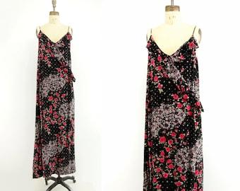 90s Flapper Dress Black Floral Dress 90s Does 20s Low Back Dress Boho Maxi Dress 90s Ruffled Dress Spaghetti Strap loose fit m, l to plus 20