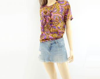 60s Paisley Shirt 60s Paisley Blouse Purple Yellow Blouse Short Sleeve Blouse Womens Blouse Ruffle Blouse 60s Blouse Short Sleeve Shirt  m