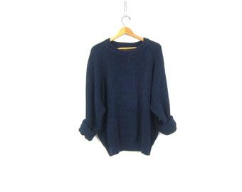 Shaker Knit Boyfriend Sweater Navy Blue Oversized Slouchy Cotton Basic Plain Pullover Normcore Crewneck Jumper Large Tall