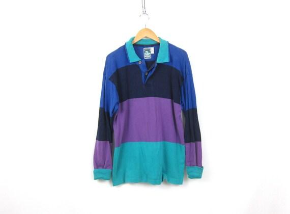 Striped Rugby Polo tee Shirt 90s collar Stripe Boyfriend Henley Top Purple blue Oversized baggy Hipster Shirt Men's Medium