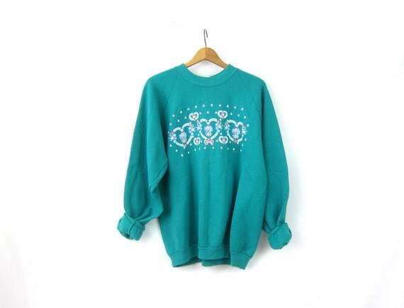 Green Hearts sweatshirt Floral Puff Paint Vintage 1980s Retro Novelty sweater Women's Jumper Size XL Extra Large