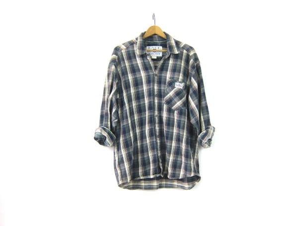 Vintage Plaid Flannel Shirt Blue Grey ENUF Patched Cotton Button Up Shirt Boyfriend Shirt Oversized Preppy Grunge Unisex Large