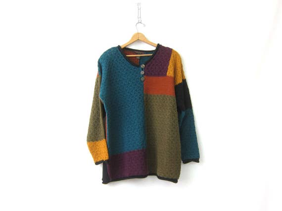 90s Color Block Sweater Long Knit Colorblock Jumper Oversized Slouchy Henley Pullover Tunic Sweater Top Cotton Ramie Women's Large XL