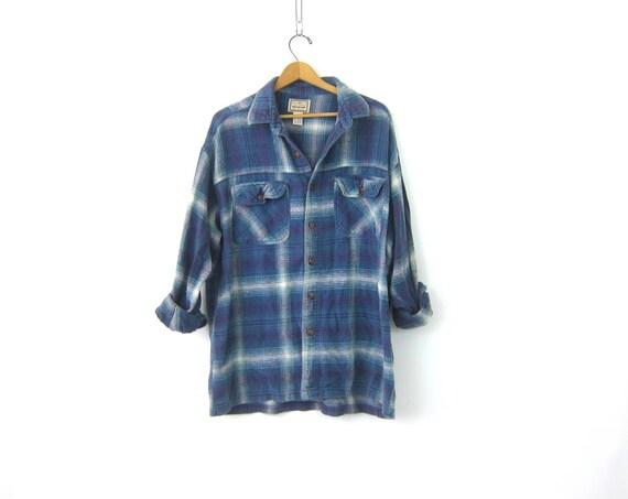 Vintage Plaid Flannel Shirt Blue & Purple Long Cotton Button Up Shirt Boyfriend Pocket Shirt Oversized Preppy Grunge Unisex Size Large XL