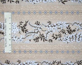 Calico Fabric - Whispering Wisteria Beige Floral Stripe - Northcott OOP YARD