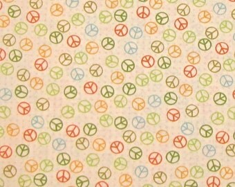 Peace Signs Green Yellow Red on Beige - Timeless Treasures Cotton Fabric YARDS