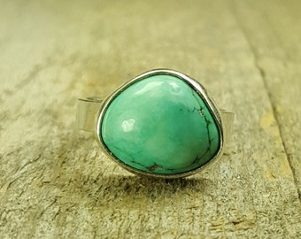 Chinese teal turquoise sterling silver, girls ring, womens ring, handmade,size  dinner ring, casual ring, size 7.25, ready to ship