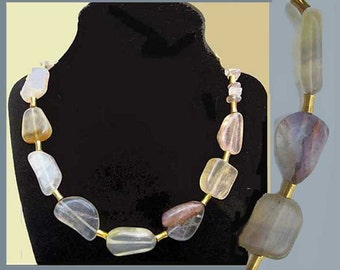 ELEGANT,  Modern Rock Crystal Artisan Necklace, Translucent Amethyst Composite Stones, Subtle Colors, Golden Spacers,Vintage Jewelry, Women