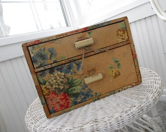 Vintage Wallpaper Cabinet * Storage Drawers * Shabby Cottage