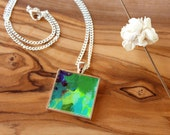 Abstract Art Necklace, Colorful Original Acrylic Painting - Pendant Necklace, One of a kind, Gifts for her, handmade, Green necklace
