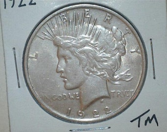 Peace Silver Dollar 1922  / 90% Silver US Coin / TM