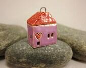 Love Lives Here...Ceramic Cottage Pendant...Purple