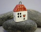 Love Lives Here...Ceramic Cottage Pendant...White