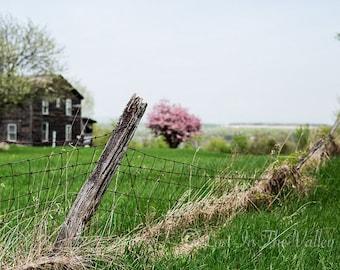 Landscape Photography, Farm Photograph, Rustic Wall Decor, Farmhouse Style, Spring Photo, Scenic Print, The Adirondacks, Pink, Green, Grey
