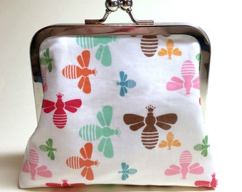 Bee Clutch Purse - Small - Laminated Cotton