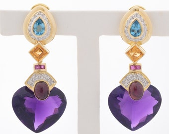 Beautiful Vintage 14K Gold Amethyst, Citrine, Diamond and Tourmaline Earrings