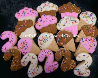 Ice Cream Birthday Cookies - 18 Cookies