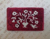 "Folk Art Miniature Punch Needle Dollhouse Rug ""Bird and Blooms""."