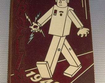 Vintage 1949 Droflim~Milford Ohio High School Yearbook~Cool Robot Cover!
