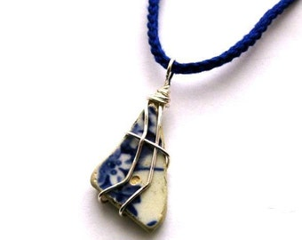 Irish Sea Pottery Pendant. Cobalt Blue Cotton Necklace. Ocean Flower