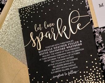 Foil + Digital Printing - Black and Gold Glitter Wedding Invitations - SAMPLE (WHITNEY)