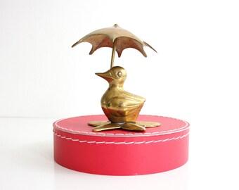 Vintage Brass Duck with Umbrella / Mid Century Duck Figurine / Retro Brass Figurine