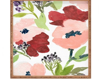 Pink Poppies Square Tray