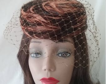 Vintage Feather Pillbox Hat with Veil   A115