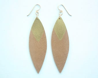 Painted Leather Leaf Earrings - Tan Leather and Gold with 14K Gold-Fill