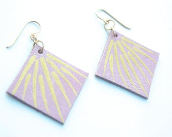 Hand Painted Leather Earrings - Soft Pink Leather with 14k Gold-Fill