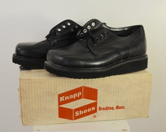on sale Vintage KNAPP Work Shoes USA made sz. 8 1/2 D 1960's new deadstock crepe soles