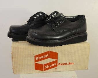 Vintage KNAPP Work Shoes USA made sz. 8 1/2 D 1960's new deadstock crepe soles