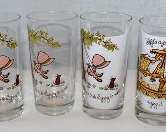 Vintage Holly Hobby  Glasses, 1960's and 1970's, American Greetings, Set of 4