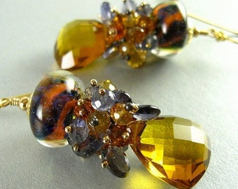 25% Off Lampwork Beads, Madeira Quartz and Iolite Gold Filled Earrings