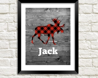 Baby boy nursery wall art woodland nursery print buffalo plaid print boy room decor moose nursery art personalized baby gift for baby