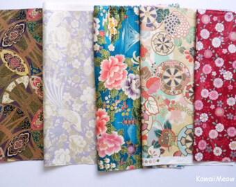 """Scrap / QUILT GATE - Kimono Print 5 pieces 26 cm x 30 cm ( 10"""" x 11.8"""" ) (882)"""