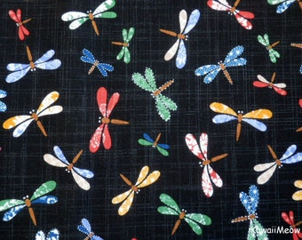 Beautiful Japanese Fabric - Colorful Dragonfly on Black - Half Yard(na161212)