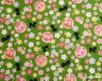 Cute Kimono Fabric - Temari Cats Sakura on Green - Half Yard (nu170419)