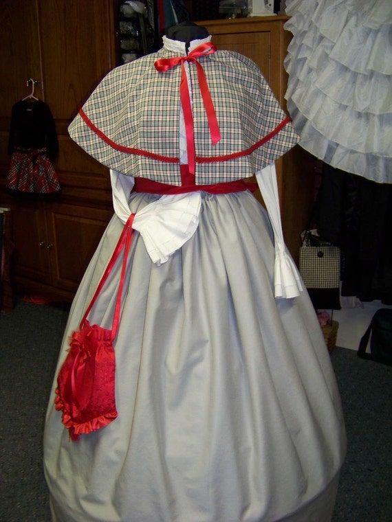 Victorian Wraps, Capes, Shawl, Capelets Ladies Civil War Cape or Skirt and sash gray black white and red plaid cape with black lining Handmade one size fits all $64.99 AT vintagedancer.com