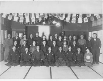 Vintage Japan photo a black and white photo of a group of Japanese people