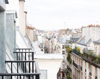 Paris Photography, Paris is Always A Good Idea, soft blue and grey tones, Paris, France, French Wall Decor, Parisian Balcony