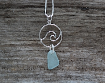 Aqua Sea Glass Wave Pendant on a Sterling Silver Box Chain