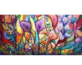 Large Abstract Boho Flowers Painting Exotic Foliage Gypsy Garden Art by Luiza Vizoli