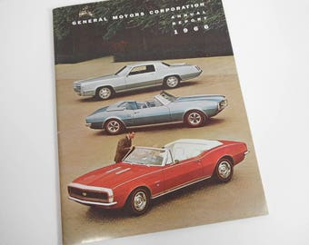 Vintage General Motors Corporation Annual Report 1966 Stockholders Report Vintage GM Car Catalog Frigidaire Vintage Automotive 45 pg Book