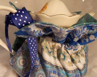 Insulated Tea Cozy~Beautiful Blues Design Teapot Cozy~6 Cup Teapot Cozy~Blue Floral Tea Cozy
